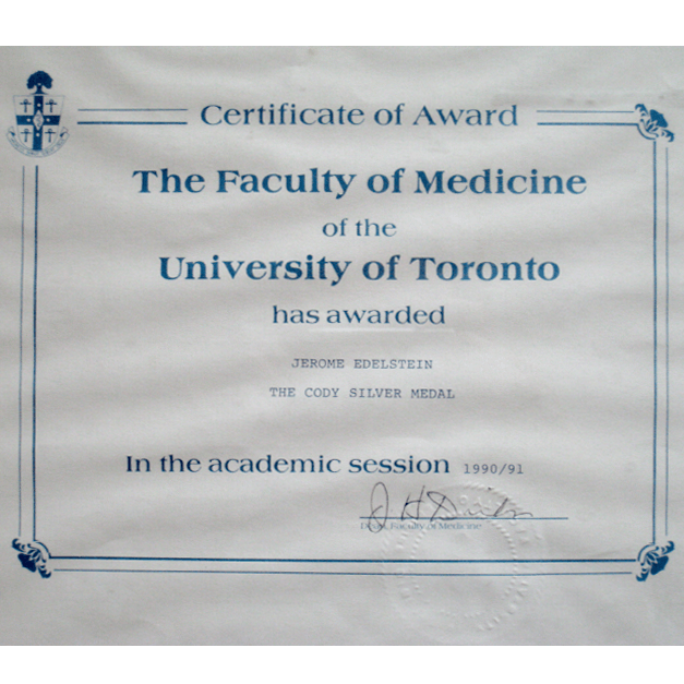 The Cody Silver Medal, University of Toronto